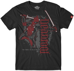 Image for Deadpool Mercenary Flying Ambigram T-Shirt