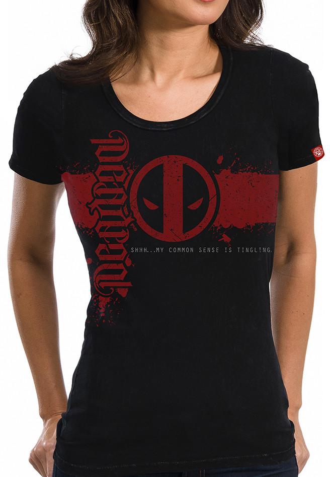 8f3370866 Deadpool T-Shirt - Icon Ambigram Girls - NerdKungFu