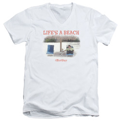 Image for Office Space V Neck T-Shirt - Life's a Beach