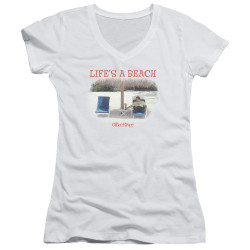 Image for Office Space Girls V Neck - Life's a Beach