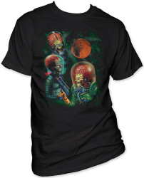 Image Closeup for Mars Attacks! Three Martians Moon T-Shirt