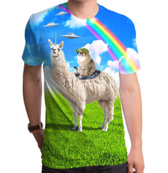 Image for Cat Rides Llamacorn Sublimated T-Shirt