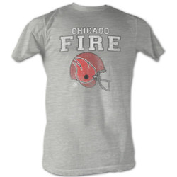 Image for World Football League Heather T-Shirt - Chicago Fire Helmet