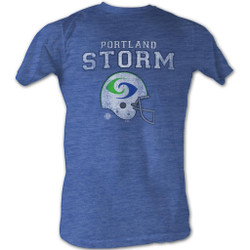 Image for World Football League Heather T-Shirt - Portland Storm Helmet