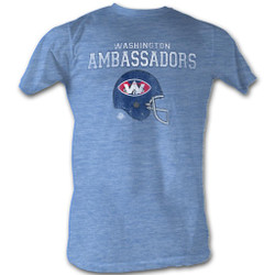 Image for World Football League Heather T-Shirt - Washington Ambassadors Helmet