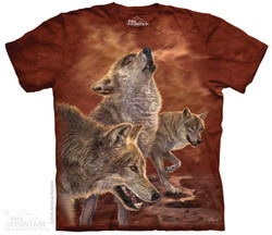 Image for The Mountain T-Shirt - Red Glow Wolves