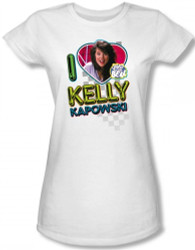Image for Saved by the Bell I Love Kelly Kapowski Girls Shirt