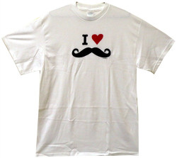 Image Closeup for I Love Mustaches T-Shirt