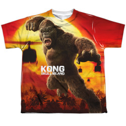 Image for Kong: Skull Island Youth Sublimated T-Shirt - Kong Attacks 100% Polyester