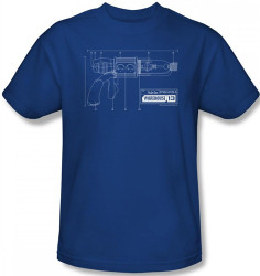 Image for Warehouse 13 Tesla Gun Blueprints T-Shirt