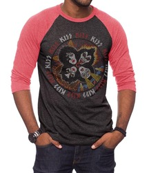 Image for Kiss Circle Heads 3/4 Sleeve Raglan T-Shirt