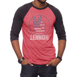 Image for John Lennon Peace 3/4 Sleeve Raglan T-Shirt