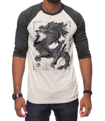 Image for Zane Fix Black & White Dragon 3/4 Sleeve Raglan T-Shirt