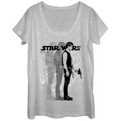Image for Star Wars Juniors Scoop Neck Heather Shirt - Solo Shadow