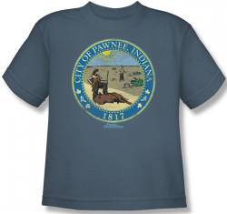 Image for Parks & Rec Distressed Pawnee Seal Youth T-Shirt