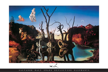 Image for Salvador Dali Poster - Swans and Elephants