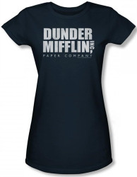Image for The Office Dunder Mifflin Distressed Logo Girls Shirt