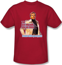 Image Closeup for Six Million Dollar Man I Come with Spare Parts T-Shirt