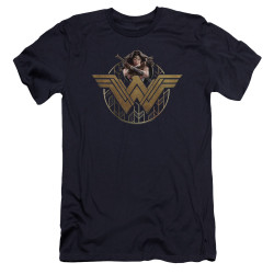 Image for Wonder Woman Movie Premium Canvas Premium Shirt - Power Stance and Emblem