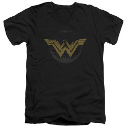 Image for Wonder Woman Movie V Neck T-Shirt - Distressed Logo