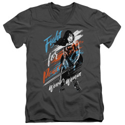 Image for Wonder Woman Movie V Neck T-Shirt - Fight for Peace