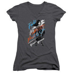 Image for Wonder Woman Movie Girls V Neck - Fight for Peace