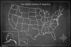 Image for Chalk Map Poster - USA