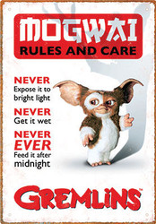 Image for Gremlins Tin Sign - Mogwai Rules