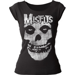 Image for The Misfits Distressed Skull Girls Cut T-Shirt