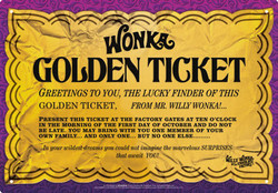 Image for Willy Wonka Tin Sign - Golden Ticket