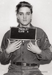 Image for Elvis Tin Sign - Enlistment Photo