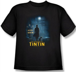 Image for The Adventures of Tintin Youth T-Shirt - Title Poster