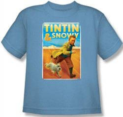 Image for The Adventures of Tintin Youth T-Shirt - Tintin & Snowy