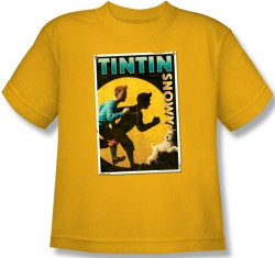 Image for The Adventures of Tintin Youth T-Shirt - Tintin & Snowy Flyer