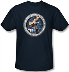 Image Closeup for The Adventures of Tintin Globe T-Shirt