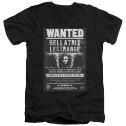 Image for Harry Potter V Neck T-Shirt - Bellatrix Lestrange Wanted Poster