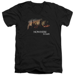 Image for Harry Potter V Neck T-Shirt - Burning Hogwarts