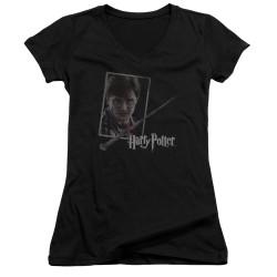 Image for Harry Potter Girls V Neck - Harry's Wand Portrait