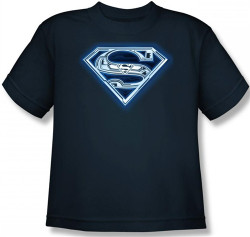 Image for Superman Youth T-Shirt - Cyber Shield Logo