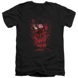 Image for A Nightmare on Elm Street V Neck T-Shirt - One Two Freddy's Coming For You