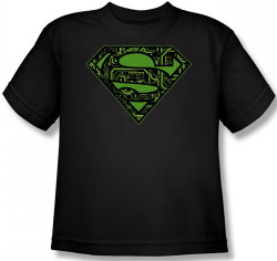 Image for Superman Youth T-Shirt - Circuits Shield Logo