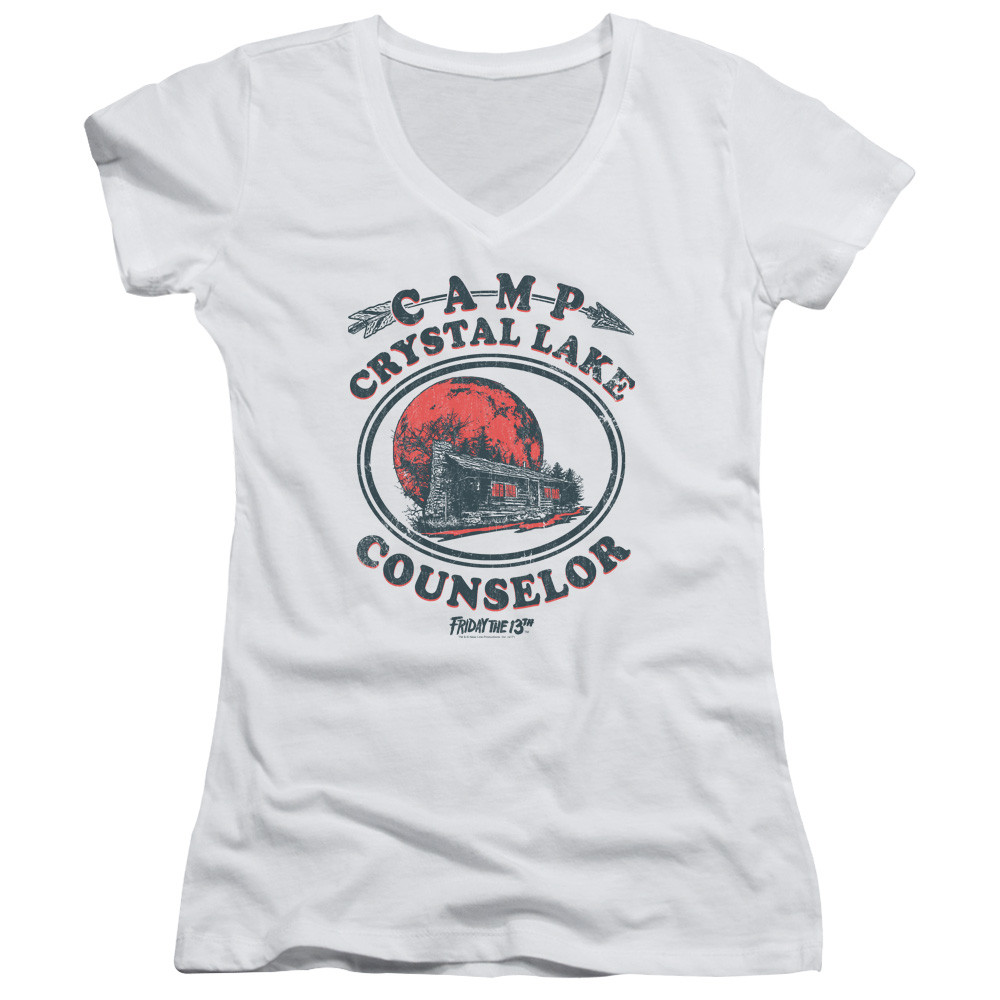 9a9f6b344de551 Friday the 13th Girls V Neck - Camp Crystal Lake Counselor - NerdKungFu