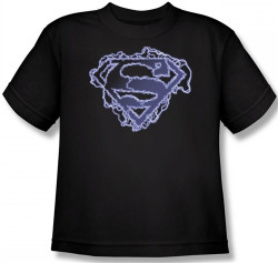 Image for Superman Kids T-Shirt - Electric Supes Shield Logo