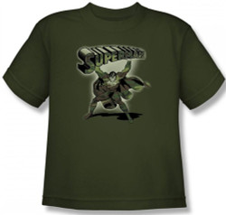 Image for Superman Youth T-Shirt - Camoflage Logo