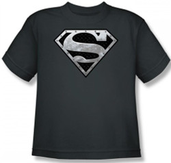 Image for Superman Youth T-Shirt - Super Metallic Shield Logo