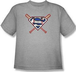 Image for Superman Youth T-Shirt - Crossed Bats Logo