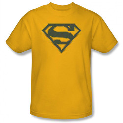 Image Closeup for Superman T-Shirt - Navy & Gold Shield Logo