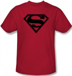 Image Closeup for Superman T-Shirt - Red & Black Shield Logo