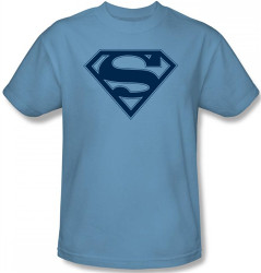 Image for Superman T-Shirt - Carolina Blue & Navy Shield Logo