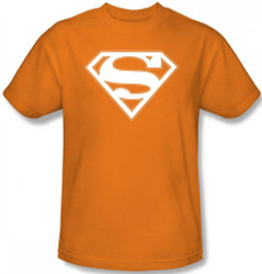 Image for Superman T-Shirt - Orange & White Shield Logo